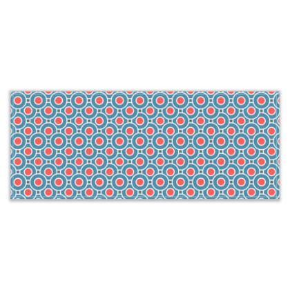 Japanese summer - Table Runner - Geometric shapes, abstract, blue and red, circles, elegant vintage, trendy, sophisticated stylish gift, modern, sports, spectacular retro - design by Tiana Lofd