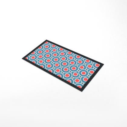 Japanese summer - Bar Runner Mat - Geometric shapes, abstract, blue and red, circles, elegant vintage, trendy, sophisticated stylish gift, modern, sports, spectacular retro - design by Tiana Lofd