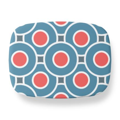 Japanese summer - Lunch Box - Geometric shapes, abstract, blue and red, circles, elegant vintage, trendy, sophisticated stylish gift, modern, sports, spectacular retro - design by Tiana Lofd