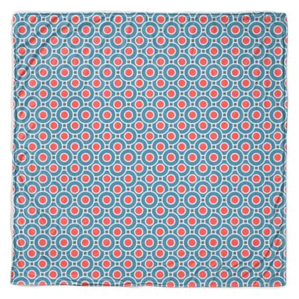 Japanese summer - Throw - Geometric shapes, abstract, blue and red, circles, elegant vintage, trendy, sophisticated stylish gift, modern, sports, spectacular retro - design by Tiana Lofd
