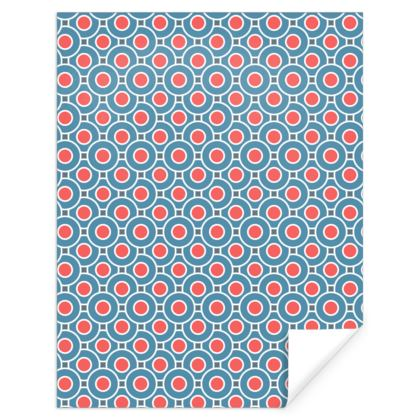 Japanese summer - Gift Wrap - Geometric shapes, abstract, blue and red, circles, elegant vintage, trendy, sophisticated stylish gift, modern, sports, spectacular retro - design by Tiana Lofd
