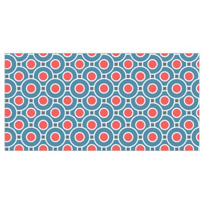 Japanese summer - Roller Blinds - Geometric shapes, abstract, blue and red, circles, elegant vintage, trendy, sophisticated stylish gift, modern, sports, spectacular retro - design by Tiana Lofd