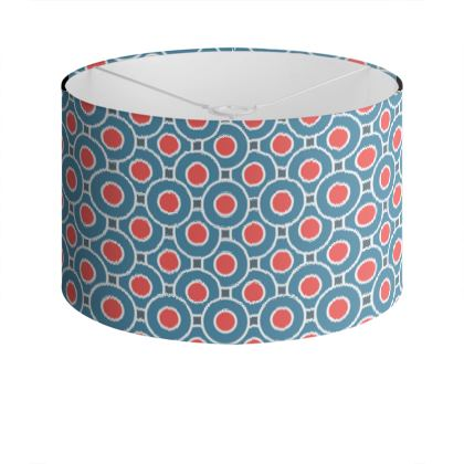 Japanese summer - Drum Lamp Shade - Geometric shapes, abstract, blue and red, circles, elegant vintage, trendy, sophisticated stylish gift, modern, sports, spectacular retro - design by Tiana Lofd