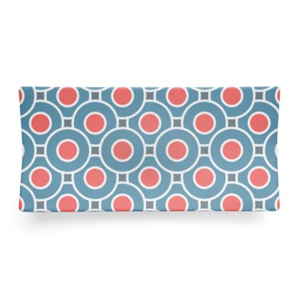 Japanese summer - Seder Dish - Geometric shapes, abstract, blue and red, circles, elegant vintage, trendy, sophisticated stylish gift, modern, sports, spectacular retro - design by Tiana Lofd