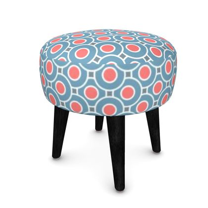 Japanese summer - Footstool (Round, Square, Hexagonal) - Geometric shapes, abstract, blue and red, circles, elegant vintage, trendy, sophisticated stylish gift, modern, sports, spectacular retro - design by Tiana Lofd