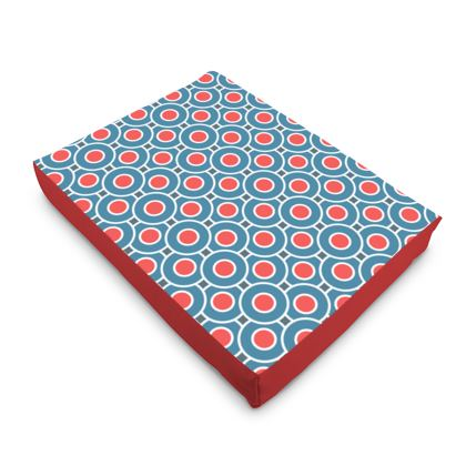 Japanese summer - Dog Pet Bed - Geometric shapes, abstract, blue and red, circles, elegant vintage, trendy, sophisticated stylish gift, modern, sports, spectacular retro - design by Tiana Lofd