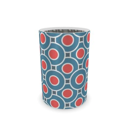 Japanese summer - Wine Bottle Cooler - Geometric shapes, abstract, blue and red, circles, elegant vintage, trendy, sophisticated stylish gift, modern, sports, spectacular retro - design by Tiana Lofd