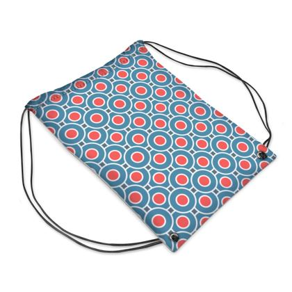 Japanese summer - Drawstring PE Bag - Geometric shapes, abstract, blue and red, circles, elegant vintage, trendy, sophisticated stylish gift, modern, sports, spectacular retro - design by Tiana Lofd