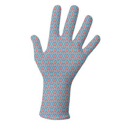 Japanese summer - Lycra Gloves - Geometric shapes, abstract, blue and red, circles, elegant vintage, trendy, sophisticated stylish gift, modern, sports, spectacular retro - design by Tiana Lofd