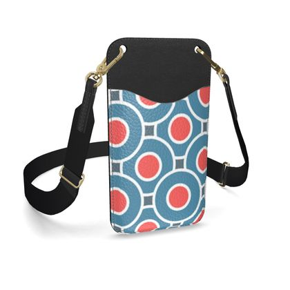 Japanese summer - Leather Phone Case With Strap - Geometric shapes, abstract, blue and red, circles, elegant vintage, trendy, sophisticated stylish gift, modern, sports, spectacular retro - design by Tiana Lofd
