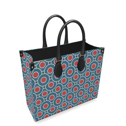 Japanese summer - Leather Shopper Bag - Geometric shapes, abstract, blue and red, circles, elegant vintage, trendy, sophisticated stylish gift, modern, sports, spectacular retro - design by Tiana Lofd