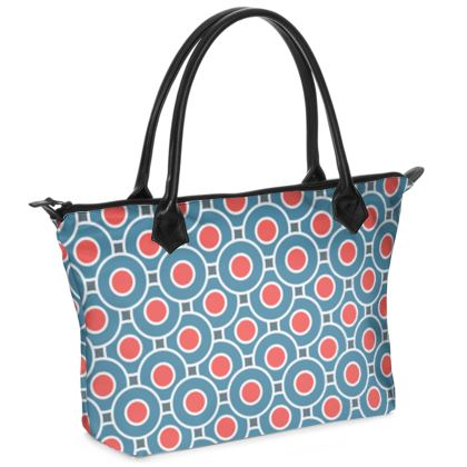 Japanese summer - Zip Top Handbag - Geometric shapes, abstract, blue and red, circles, elegant vintage, trendy, sophisticated stylish gift, modern, sports, spectacular retro - design by Tiana Lofd