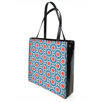 Japanese summer - Shopper Bags - Geometric shapes, abstract, blue and red, circles, elegant vintage, trendy, sophisticated stylish gift, modern, sports, spectacular retro - design by Tiana Lofd