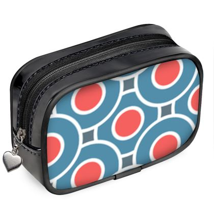 Japanese summer - Pouch Purse - Geometric shapes, abstract, blue and red, circles, elegant vintage, trendy, sophisticated stylish gift, modern, sports, spectacular retro - design by Tiana Lofd