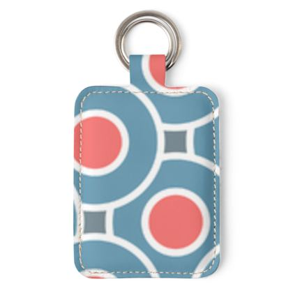 Japanese summer - Leather Keyring - Geometric shapes, abstract, blue and red, circles, elegant vintage, trendy, sophisticated stylish gift, modern, sports, spectacular retro - design by Tiana Lofd