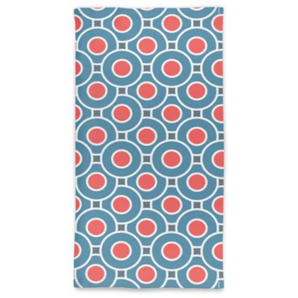 Japanese summer - Neck Tube Scarf - Geometric shapes, abstract, blue and red, circles, elegant vintage, trendy, sophisticated stylish gift, modern, sports, spectacular retro - design by Tiana Lofd