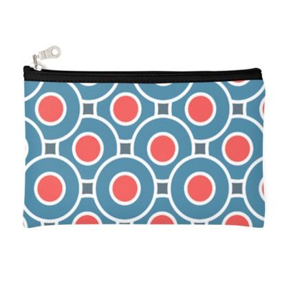 Japanese summer - Zip Top Pouch - Geometric shapes, abstract, blue and red, circles, elegant vintage, trendy, sophisticated stylish gift, modern, sports, spectacular retro - design by Tiana Lofd