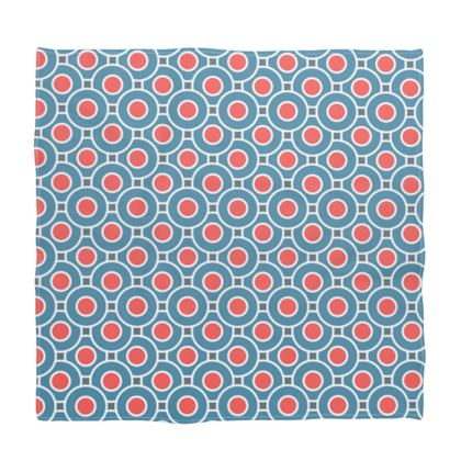 Japanese summer - Bandana - Geometric shapes, abstract, blue and red, circles, elegant vintage, trendy, sophisticated stylish gift, modern, sports, spectacular retro - design by Tiana Lofd