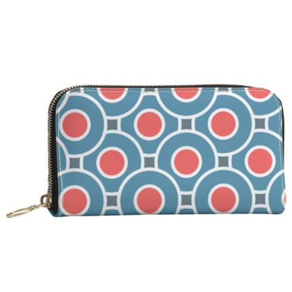 Japanese summer - Leather Zip Purse - Geometric shapes, abstract, blue and red, circles, elegant vintage, trendy, sophisticated stylish gift, modern, sports, spectacular retro - design by Tiana Lofd