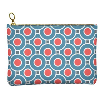 Japanese summer - Leather Clutch Bag - Geometric shapes, abstract, blue and red, circles, elegant vintage, trendy, sophisticated stylish gift, modern, sports, spectacular retro - design by Tiana Lofd