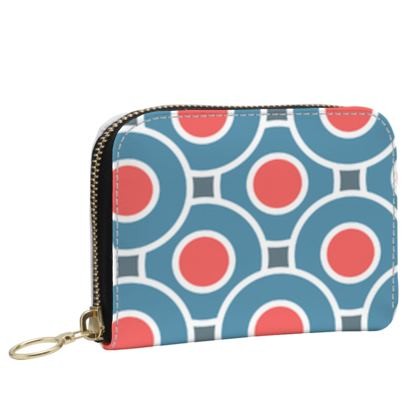Japanese summer - Small Leather Zip Purse - Geometric shapes, abstract, blue and red, circles, elegant vintage, trendy, sophisticated stylish gift, modern, sports, spectacular retro - design by Tiana Lofd