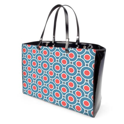Japanese summer - Handbags - Geometric shapes, abstract, blue and red, circles, elegant vintage, trendy, sophisticated stylish gift, modern, sports, spectacular retro - design by Tiana Lofd