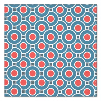 Japanese summer - Pocket Square - Geometric shapes, abstract, blue and red, circles, elegant vintage, trendy, sophisticated stylish gift, modern, sports, spectacular retro - design by Tiana Lofd