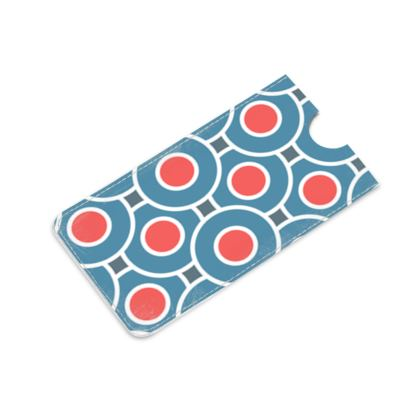 Japanese summer - Leather iPhone 6 Plus Case - Geometric shapes, abstract, blue and red, circles, elegant vintage, trendy, sophisticated stylish gift, modern, sports, spectacular retro - design by Tiana Lofd
