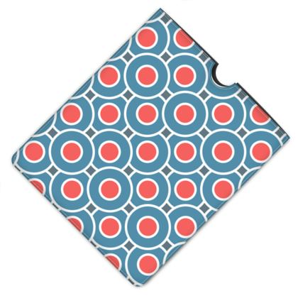 Japanese summer - Leather iPad Case - Geometric shapes, abstract, blue and red, circles, elegant vintage, trendy, sophisticated stylish gift, modern, sports, spectacular retro - design by Tiana Lofd