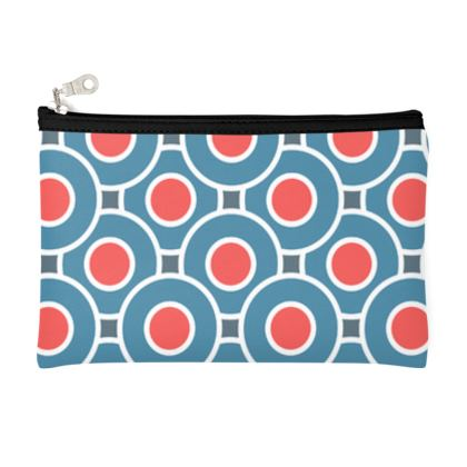 Japanese summer - Pencil Case - Geometric shapes, abstract, blue and red, circles, elegant vintage, trendy, sophisticated stylish gift, modern, sports, spectacular retro - design by Tiana Lofd
