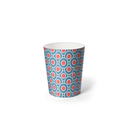 Japanese summer - Waste Paper Bin - Geometric shapes, abstract, blue and red, circles, elegant vintage, trendy, sophisticated stylish gift, modern, sports, spectacular retro - design by Tiana Lofd