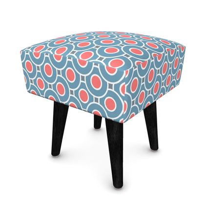 Japanese summer - Footstool - Geometric shapes, abstract, blue and red, circles, elegant vintage, trendy, sophisticated stylish gift, modern, sports, spectacular retro - design by Tiana Lofd