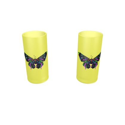 Large Round Shot Glass 2 Set - Butterfly