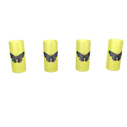 Large Round Shot Glass 4 Set - Butterfly