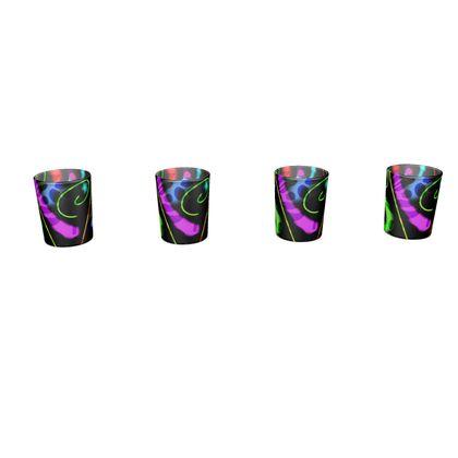 Round Shot Glass 4 Set - Neon
