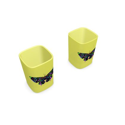 Square Shot Glass 2 Set - Butterfly