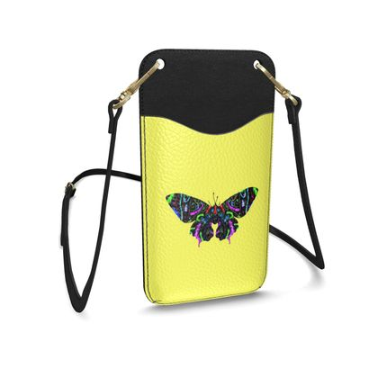 Leather Phone Case With Strap - Butterfly