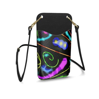 Leather Phone Case With Strap - Neon