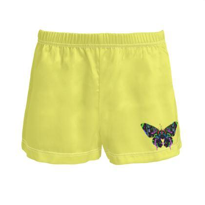 Ladies Silk Pyjama Shorts - Butterfly