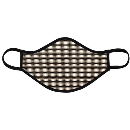 Face Masks - Black and white Art Nouveau - horizontally striped, geometric shapes, elegant, abstract, graphic, clean, fine, statement gift - design by Tiana Lofd