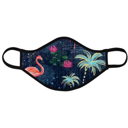 Pink flamingo - Face Masks - tropical rain, palms, dark blue, navy, exotic, Bohemian, whimsical, resort, beach, bright, jungle, travel - design by Tiana Lofd