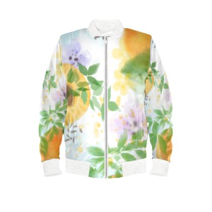 Little sun - Ladies Bomber Jacket - fruit design, apricots, sunny, orchard, yellow, bright, natural food, garden, hand-drawn floral, summer gift - design by Tiana Lofd