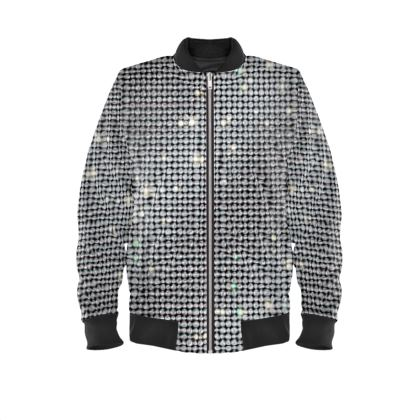 Diamond glamor - Mens Bomber Jacket - shiny crystals, chic, black and white, sparkling, precious, humor, looks expensive, rhinestones, glitter, jewelery, glamorous fun gift - design by Tiana Lofd