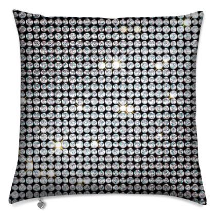Diamond glamor - Cushions - shiny crystals, chic, black and white, sparkling, precious, humor, looks expensive, rhinestones, glitter, jewelery, glamorous fun gift - design by Tiana Lofd