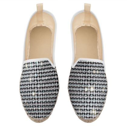 Diamond glamor - Loafer Espadrilles - Brilliant crystals, chic, black and white, sparkling, precious, humor, looks expensive, rhinestones, glitter, jewelery, glamorous fun gift - design by Tiana Lofd