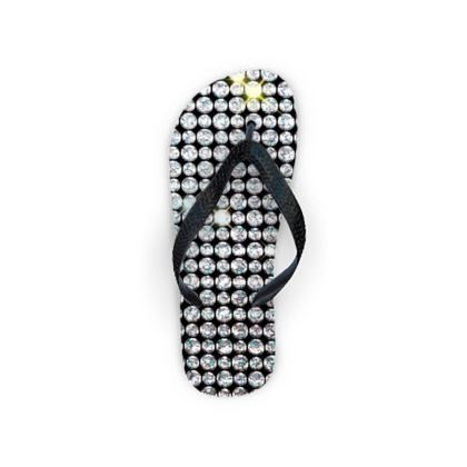 Diamond glamor - Flip Flops - shiny crystals, chic, black and white, sparkling, precious, humor, looks expensive, rhinestones, glitter, jewelery, glamorous fun gift - design by Tiana Lofd