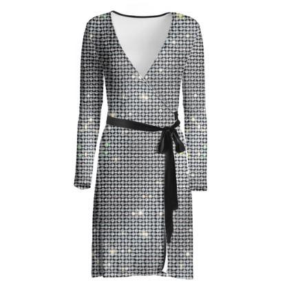 Diamond glamor - Wrap Dress - Brilliant crystals, chic, black and white, sparkling, precious, humor, looks expensive, rhinestones, glitter, jewelery, glamorous fun gift - design by Tiana Lofd