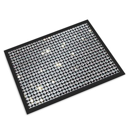 Diamond glamor - Door Mat - Brilliant crystals, chic, black and white, sparkling, precious, humor, looks expensive, rhinestones, glitter, jewelery, glamorous fun gift - design by Tiana Lofd