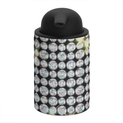 Diamond glamor - Soap Dispenser - shiny crystals, chic, black and white, sparkling, precious, humor, looks expensive, rhinestones, glitter, jewelery, glamorous fun gift - design by Tiana Lofd
