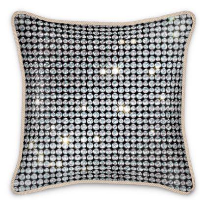 Diamond glamor - Silk Cushions - Brilliant crystals, chic, black and white, sparkling, precious, humor, looks expensive, rhinestones, glitter, jewelery, glamorous fun gift - design by Tiana Lofd
